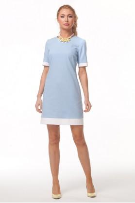 Голубое платье с белыми вставками