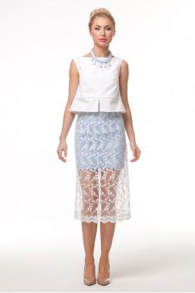 Ажурная юбка голубого цвета