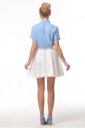 Рубашка голубая в горошек