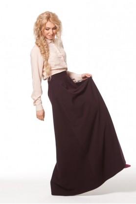 Длинная юбка черничного оттенка