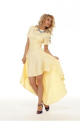 Желтое асимметричное платье