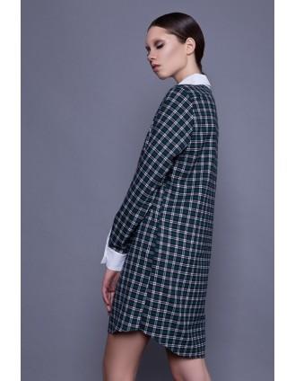 Зеленое клетчатое платье