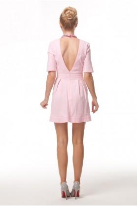 Коктельное розовое платье