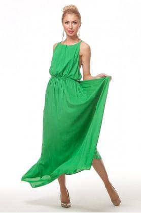 Платье зеленого цвета в пол