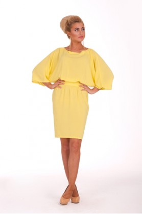 Желтое деловое платье